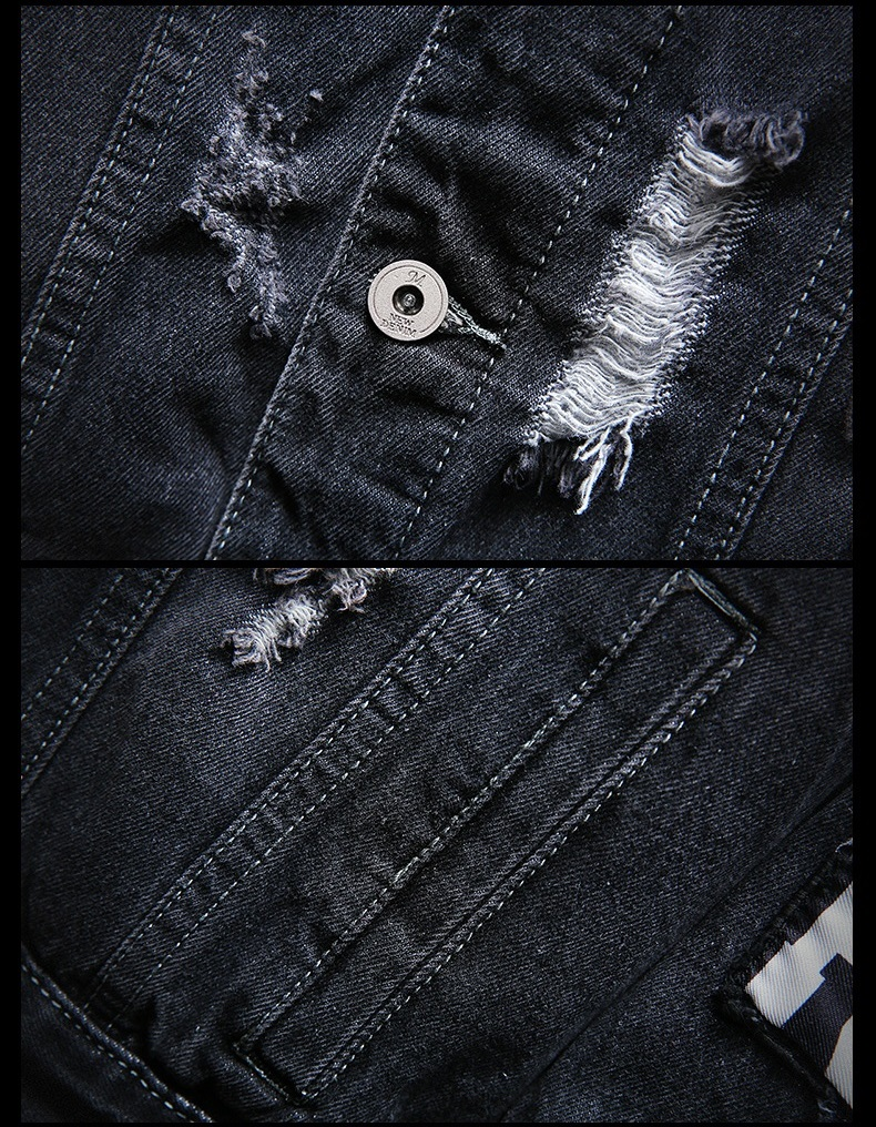 Mens Jackets And Coats Black Holes Denim Coats New Fashion Men Spring Autumn Loose Casual Jean Jackets Outwear Denim Jackets