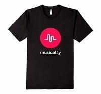 2016 Musical Ly Printing Short Sleeve O Neck Black T Shirts Male Fashion T Shirts Men