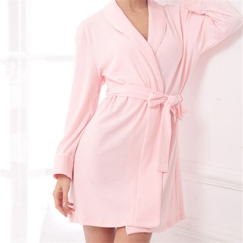 Nightgowns Cotton Fabric Solid Kimono Robe Fashion Bathrobe Sexy Sleepwear  Robe Peignoir Wedding Robes Bridesmaid Robes  H123-in Robes from Underwear  ... 79ef5f12262d