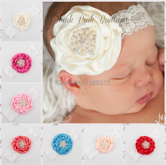 New Arrival 10PCS/Lot Mixed Color Rhinestone Pearl Button Core Decorated Fabric Flower Decorated Lace Headband Todder Headwear