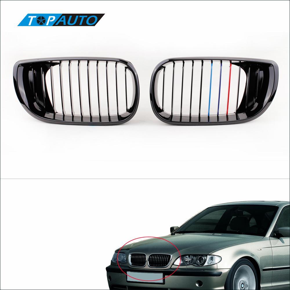 2Pcs Black M color Front Kidney Grille for BMW E46 4 Door 3 Series Facelift Saloon 2002 2005