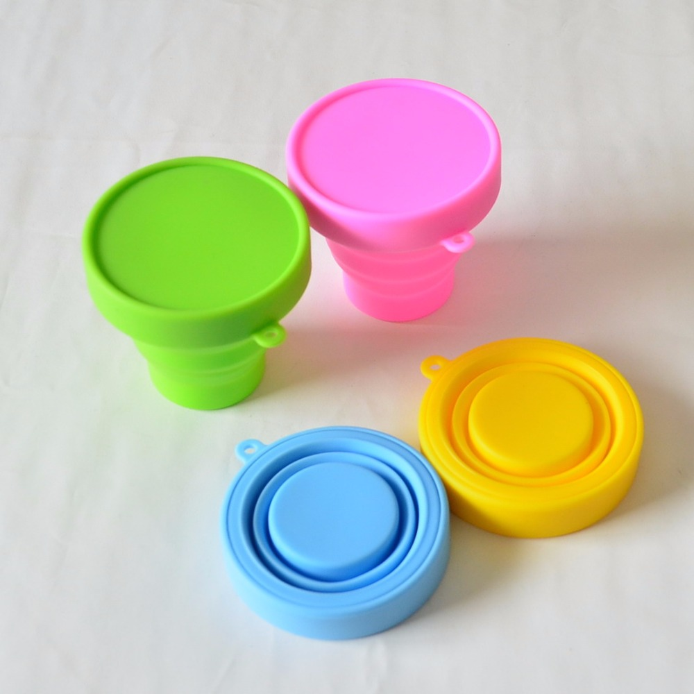30pcs lot 170ML silicone foldable camping water bottle with lids Outdoor Sport hiking silicone folding water