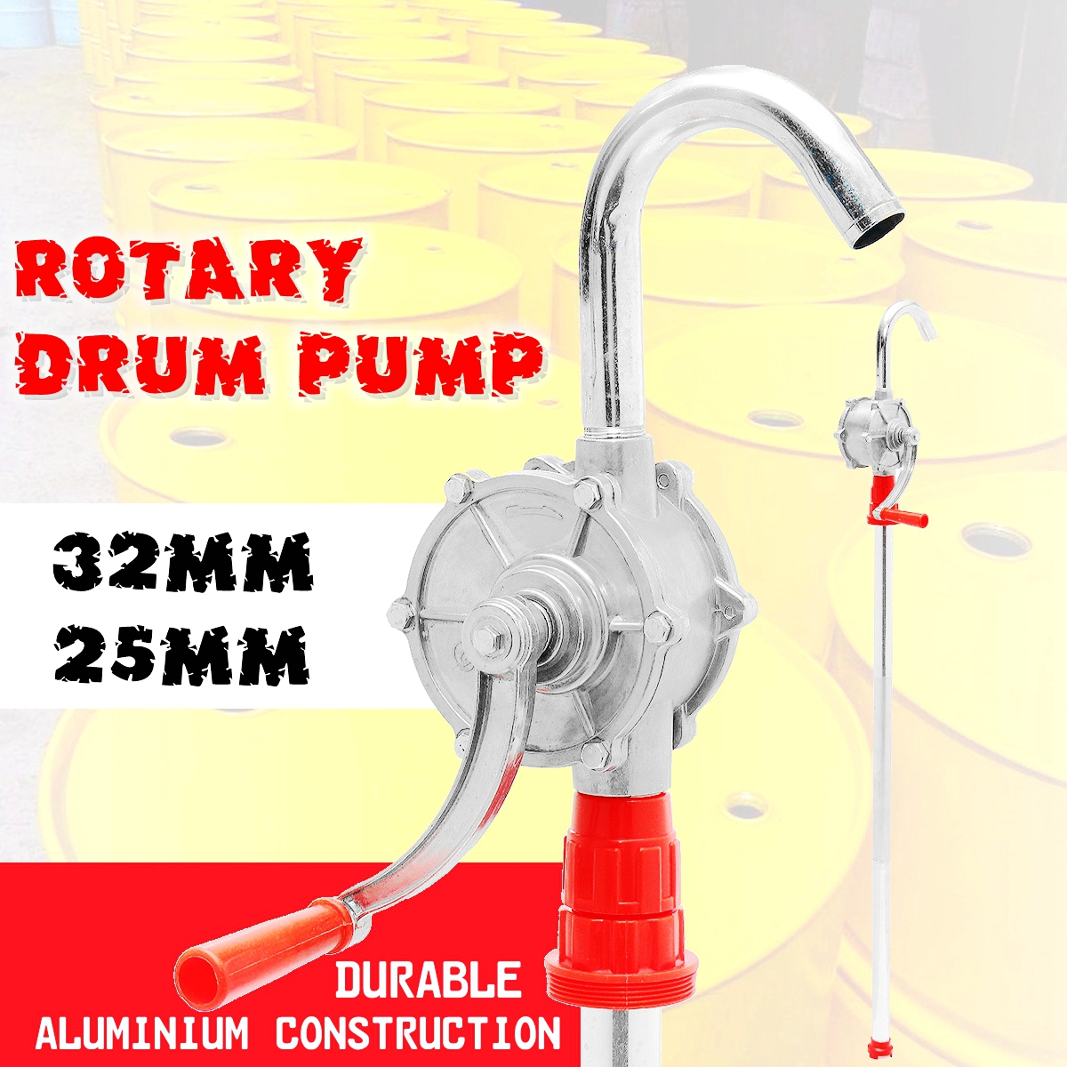 22L/min Heavy Duty Drum Rotary Hand Pump New Oil Fuel Barrel 32mm rotary hand drum barrel pump manual fuel transfer pump