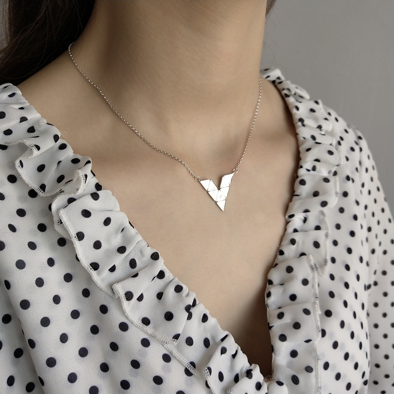 LouLeur 925 Sterling Silver Combined Triangle Pendant Necklace Fashion City Geometric Charm Necklace For Women Creative Jewelry