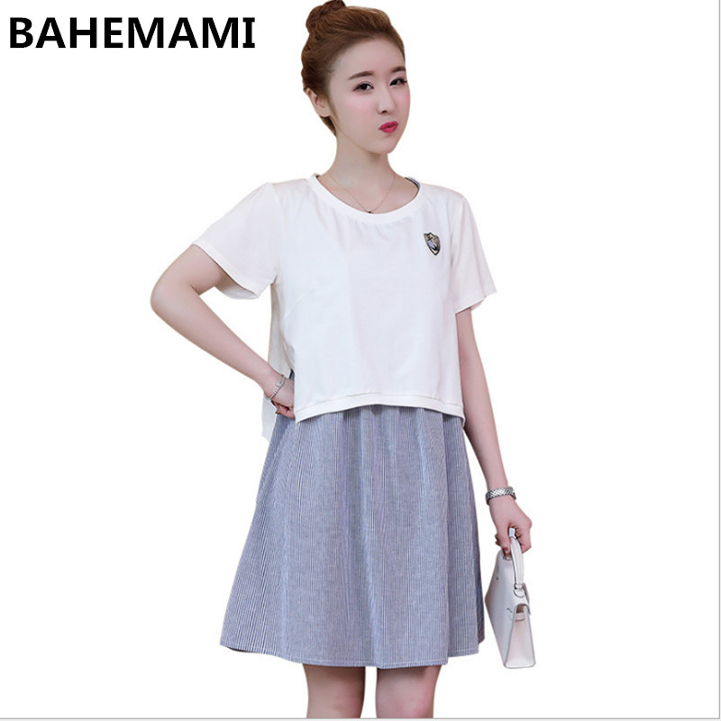 BAHEMAMI Pregnant women dresses two-piece 2018 fashion pregnant women nursing skirt spring and summer new maternity dressM-4XL