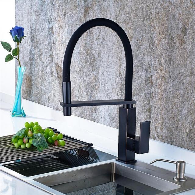 oil rubbed bronze kitchen sink 30 inch square table faucet black hot and cold basin pull down antique rotated dish mixer
