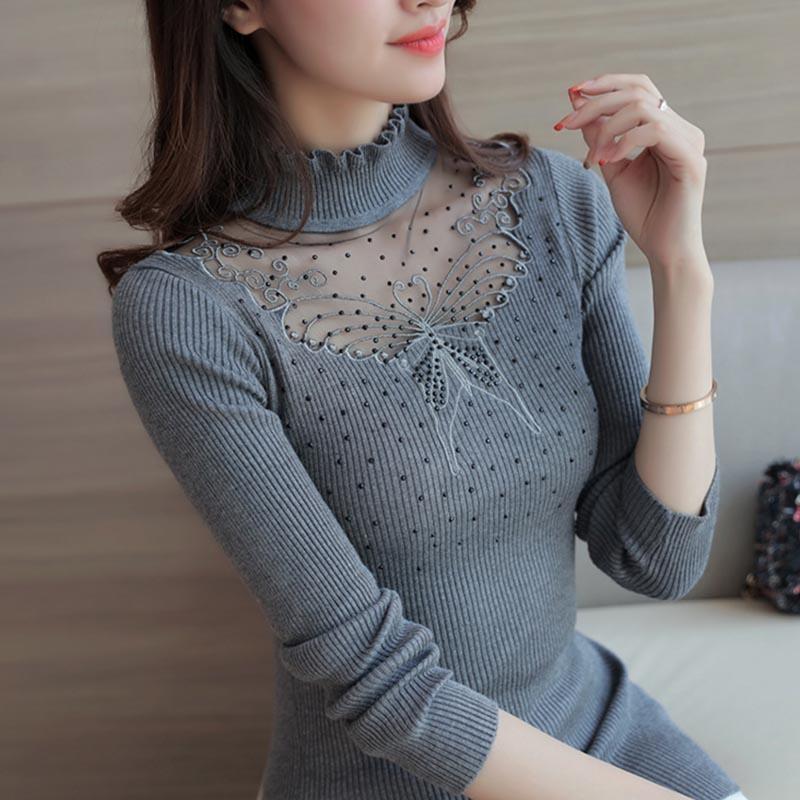 En la primavera de 2017 las nuevas mujeres Coreanas suéter de cuello de encaje d