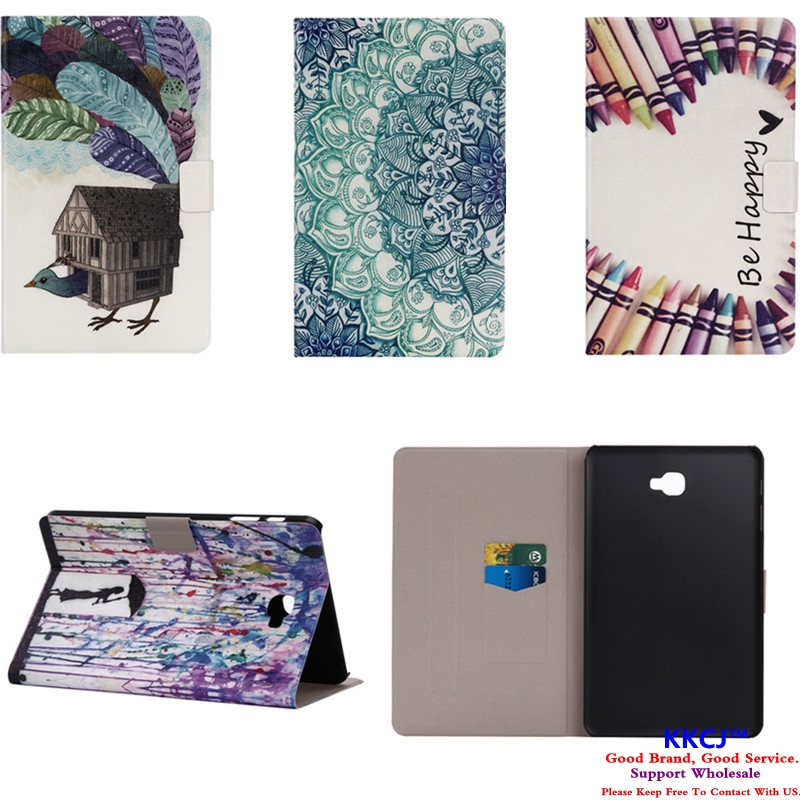 XX Luxury Fashion Cute PU Leather With Plasic Back Flip Stand Case For Samsung Galaxy Tab A A6 10.1 T585 T580 SM-T580 Tablet for coque galaxy tab a6 10 1 inch tablet case new kst flip pu leather casse cover for samsung galaxy tab a 10 1 t580 sm t585