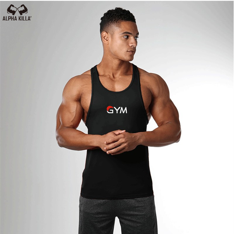 2019 Fashion   Top   new Brand bodybuilding stringer   tank     top   men GYM letter printing fitness muscle guys vest
