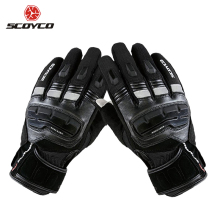 SCOYCO Motorcycle Touch Screen Gloves Men's Genuine Cow Leather Waterproof Windproof Warm Winter Motorbike Racing Riding Gloves