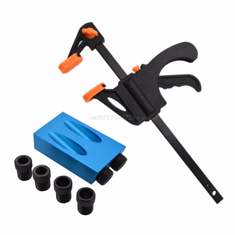 8pcs Pocket Hole Jig Kit 15 Degree Angle 6/8/10mm Adapter Oblique Drill Guide Puncher Locator Set Woodworking Tools A02 19
