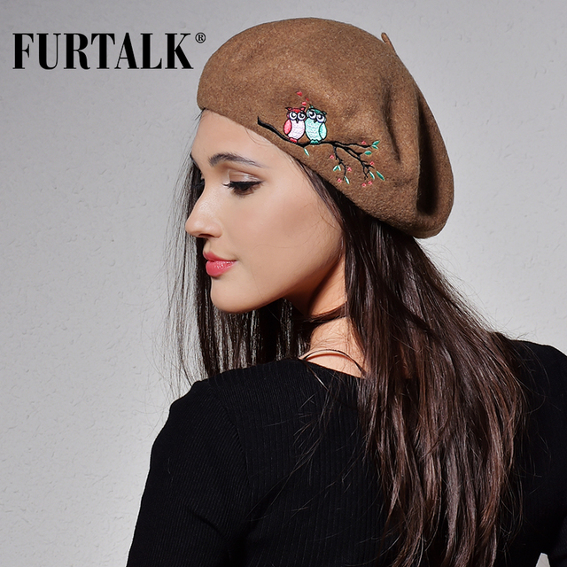 FURTALK 100% autumn winter women wool beret with embroidery decoration warm winter hats for women and girls