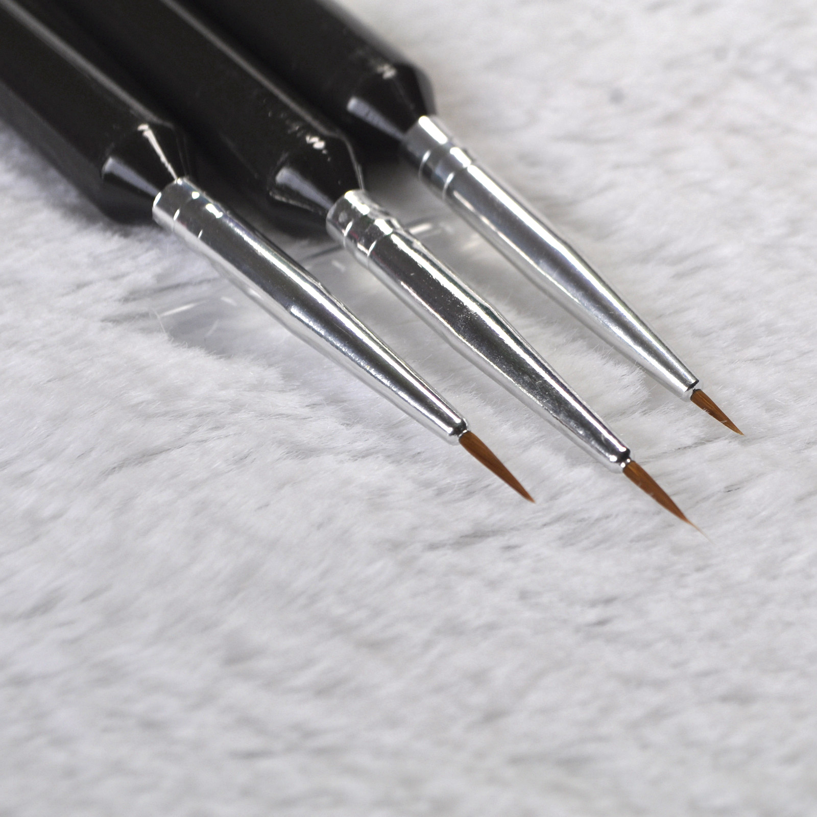 3Pcs Dotting Painting Drawing UV Gel Liner Polish Brush Sable Hair Tool Nail Art Pen Kit Black Big Size B01