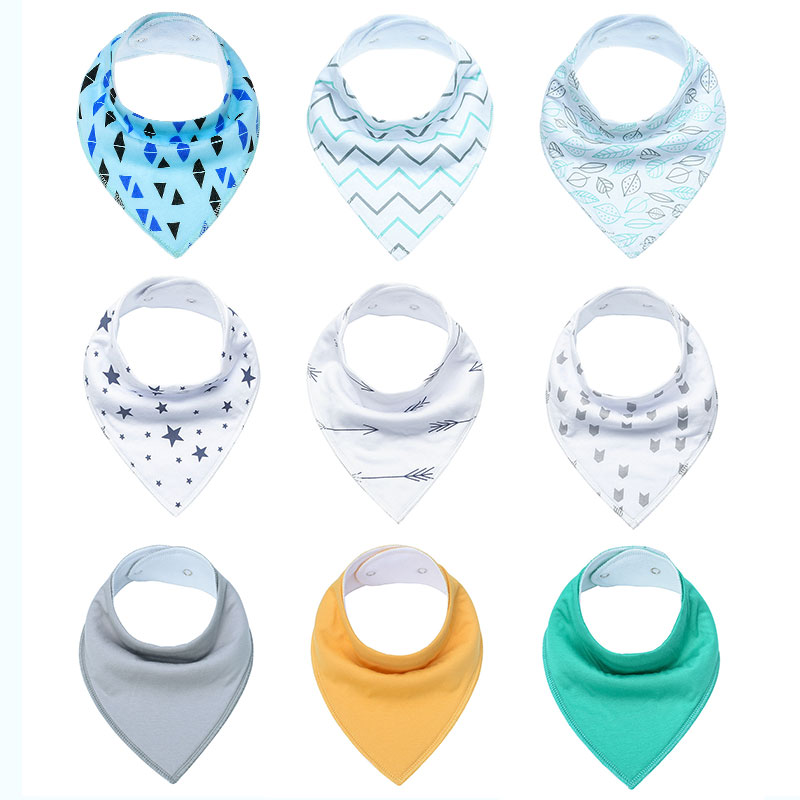 9 Pack Lot Unisex Baby Bibs Adjustable Snaps Absorbent 100 Cotton Bandana Bibs for Drooling