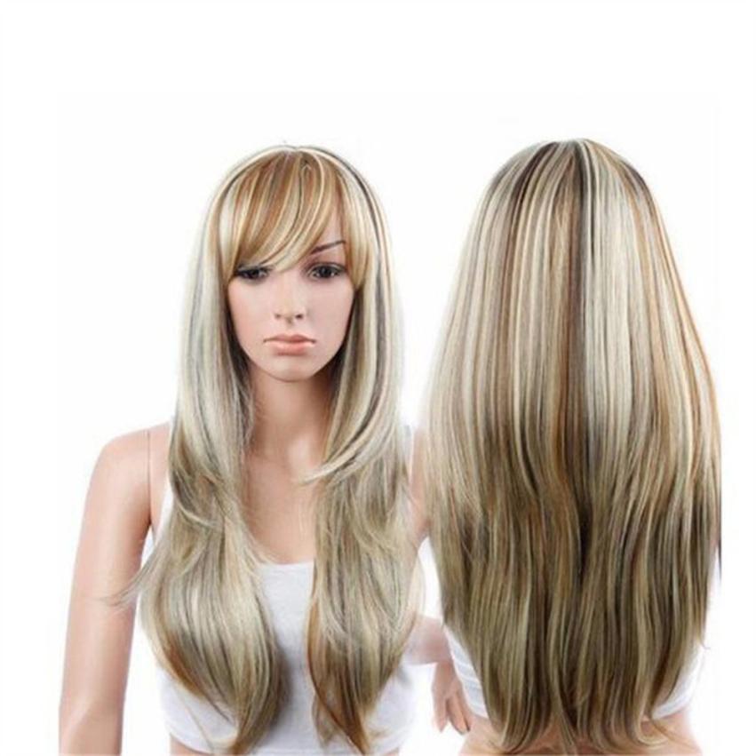 Длинные волнистые фигурные парик парики для женщин Смешанные Цвет парики синтетических блондинка full lace человеческих волос, парики с ребенк...