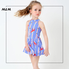 M&M Kids Children One Piece Swimsuit Blue Striped Girl Swimwear Skirt Cute Little Princess Skirt Bathing Suit With Swimming Pant
