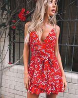 Red Summer 2019 Womens Boho Maxi Style Mini Dress Evening Club Beach Dresses Sundress Floral Printed V Neck Lace Up Bow Dress