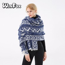 Winfox 2018 New Luxry Brand Winter Vintage Navy Geometric Floral Blanket Pashmina Scarf Shawl For Womens Ladies