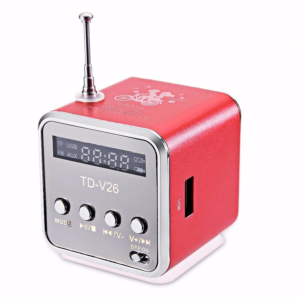 Mrs win TD-V26 Mini Speaker Portable MP3 Music Player w/ LCD Support FM Radio Micro TF SD Stereo Loudspeaker for PC Laptop Phone