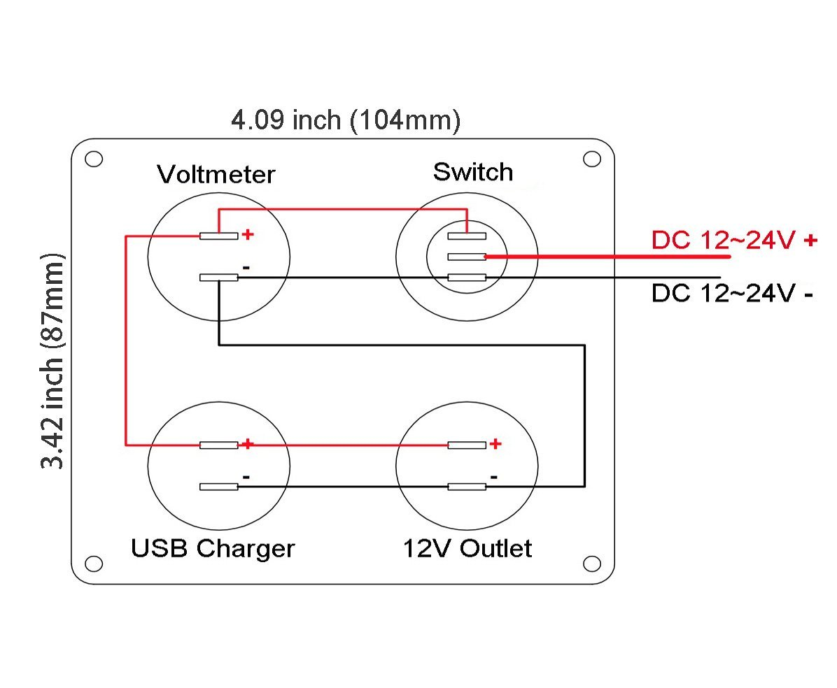 medium resolution of dual usb charger 2 1a 2 1a voltmeter 12v power outlet on off toggle switch