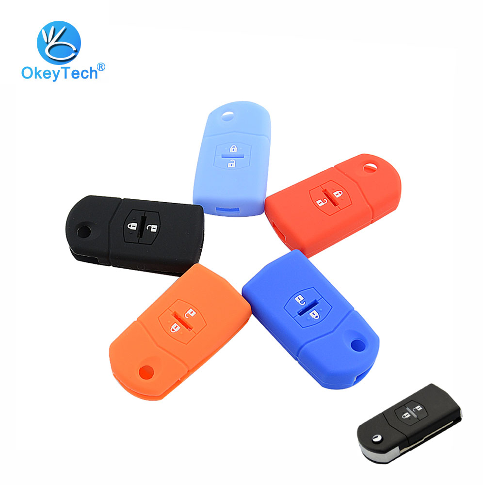 OkeyTech 2 Button Flip Folding Silicone Rubber Protector Holder Keychain Remote Car Key Shell Cover Case Fob for Mazda 3 5 6 RX8 image