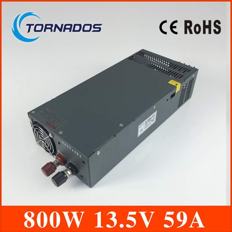 800W 13.5V 59A Switching power supply for LED Strip light AC to DC input 220v 800w ac to dc power supply S-800-13.5 1200w 48v adjustable 220v input single output switching power supply for led strip light ac to dc