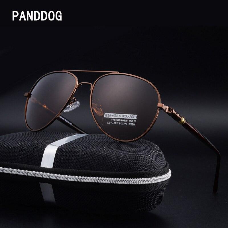 c0fe9d475e8e Best buy PANDDOG double bridge tea black aluminum magnesium aviator  polarized sunglasses women men with glasses case cloth LHXY011 online cheap
