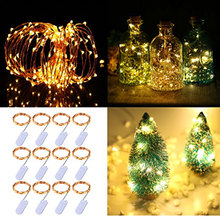 12pcs Copper Led Fairy Lights 2M 20 Leds CR2032 Button Battery Operated LED String Light Xmas Wedding party Decoration
