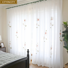 CITYINCITY Hand drawing curtains for living room Elegant lotus kitchen curtain For bedroom Window ready made Curtain Customized