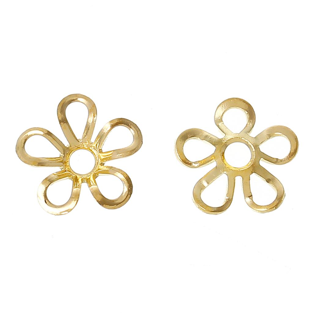 DoreenBeads Copper Beads Caps Findings Flower Gold color(Fit 6mm Beads)9mm(3/8)x 9mm(3/8 ...