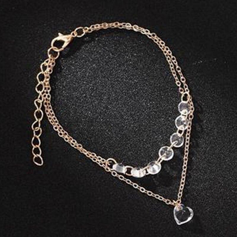 Exquisite Tiny Crystal Heart Pendant Bracelet Double Layer Chain Bracelet Crystal Simple Heartshaped Bracelets Jewelry