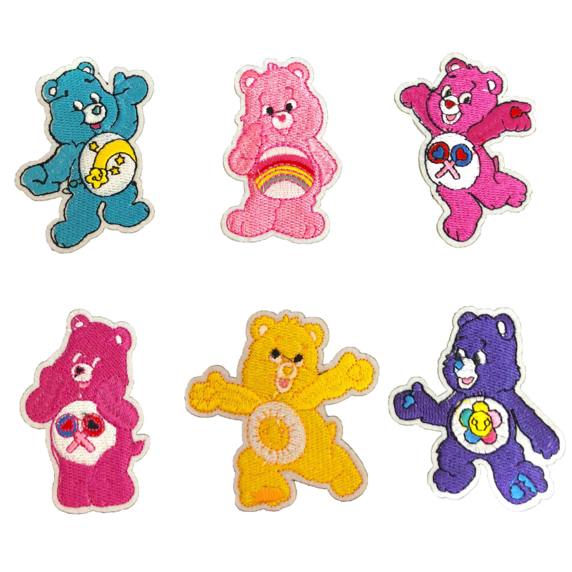 Cartoon Color bear Star bear Sun bear  Rainbow Bear Patches Iron On Appliques for Clothing Cartoon Badges Diy coat Jeans Patch
