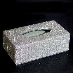 Luksusowe kryształ Tissue uchwyt skrzynki Handmade Bling diament Tissue Box do samochodu w domu wielofunkcyjny pudełko do przechowywania prezent dla kobiet dziewczyna
