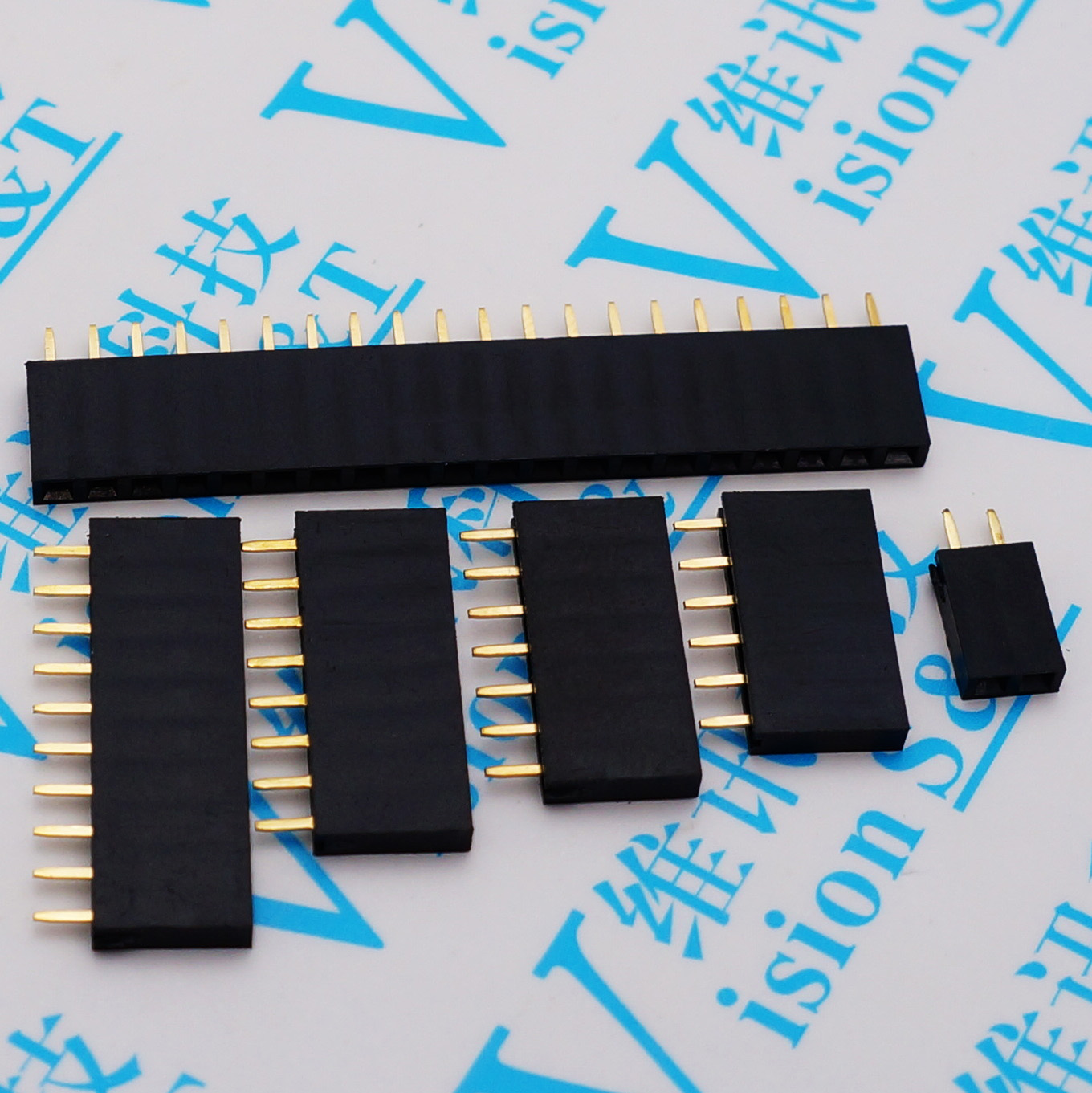 Pitch 2.54mm 2/3/4/<font><b>5</b></font>/6/7/8/9/10/11/12/13/14/15/16/20/40 Pin Stright Female Single Row Pin Header Strip PCB Connector image