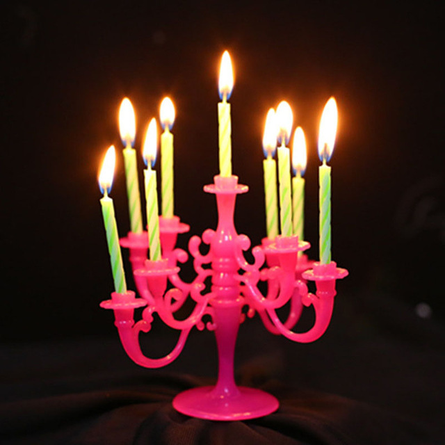 1 Set Happy Birthday Candles With Candlestick Funny Wedding Xmas For A Cake