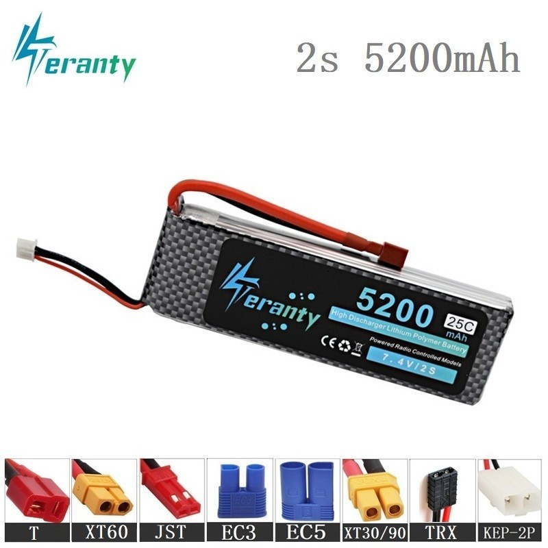 Teranty <font><b>2s</b></font> <font><b>5200mAh</b></font> 7.4V <font><b>Lipo</b></font> Battery For RC Cars Robot Airplanes Helicopter Parts <font><b>2s</b></font> Lithium battery 7.4v RC Drone Battery 1Pcs image