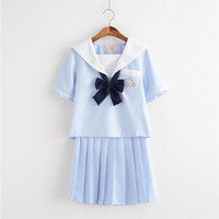 High End Custom Spring Summer Lovely School Girl Uniforms Sets Sailor Style Cotton School Uniform OY