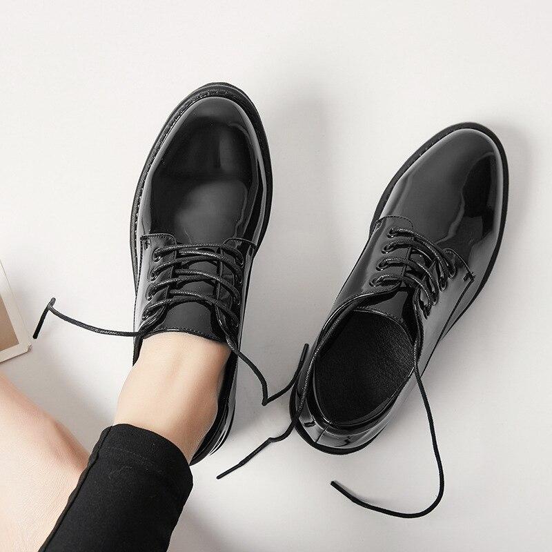 Shinny Punta Redonda La Black Oxfords Manera Formal Cuero 2018 Vestido Zapatos Señora Pisos De Pu Negro Mujeres Nuevo Oficina Casual xwqY1gp4W