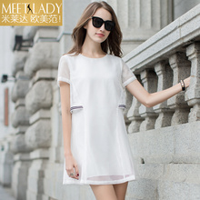 2017 women's clothing summer dress fashion faux two piece high waist short-sleeve o-neck hollow out dress female white and black