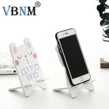 Cartoon Wooden Mobile Phone Light Weight  Cute Lovely Rabbit Panda Animal Cellphone Tablet Desktop Holder Stand Lazy bracket mobile phone