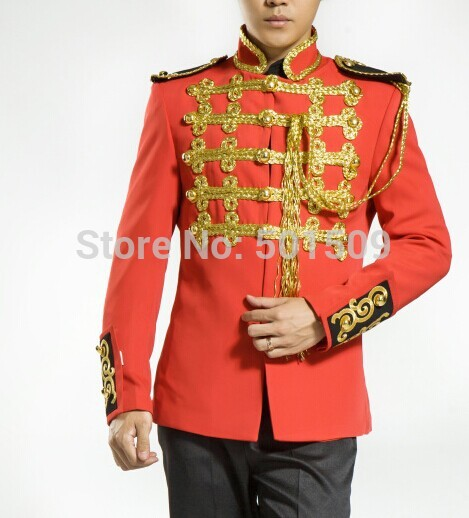 Free shipping red medieval jacket vintage stage