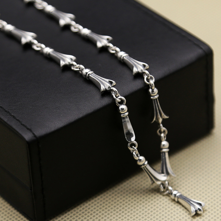 Wholesale S925 Sterling Silver Personalized Cross Necklace Fashion Popular Men Women Couples Chain Thai Silver Chain