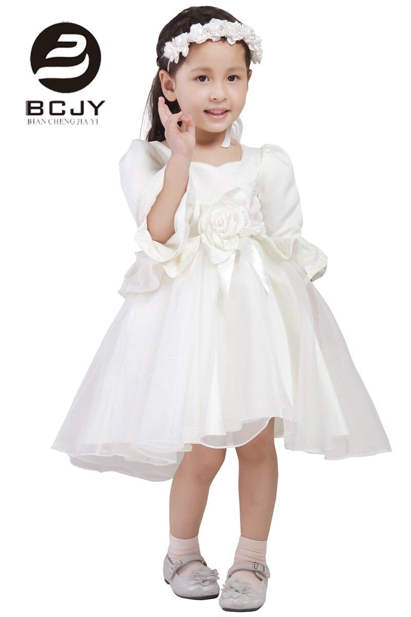 2019 fleur fille robes enfants robe de bal 3/4 manches Tulle dentelle Appliques dentelle arc fleur robes pour filles robe de reconstitution historique