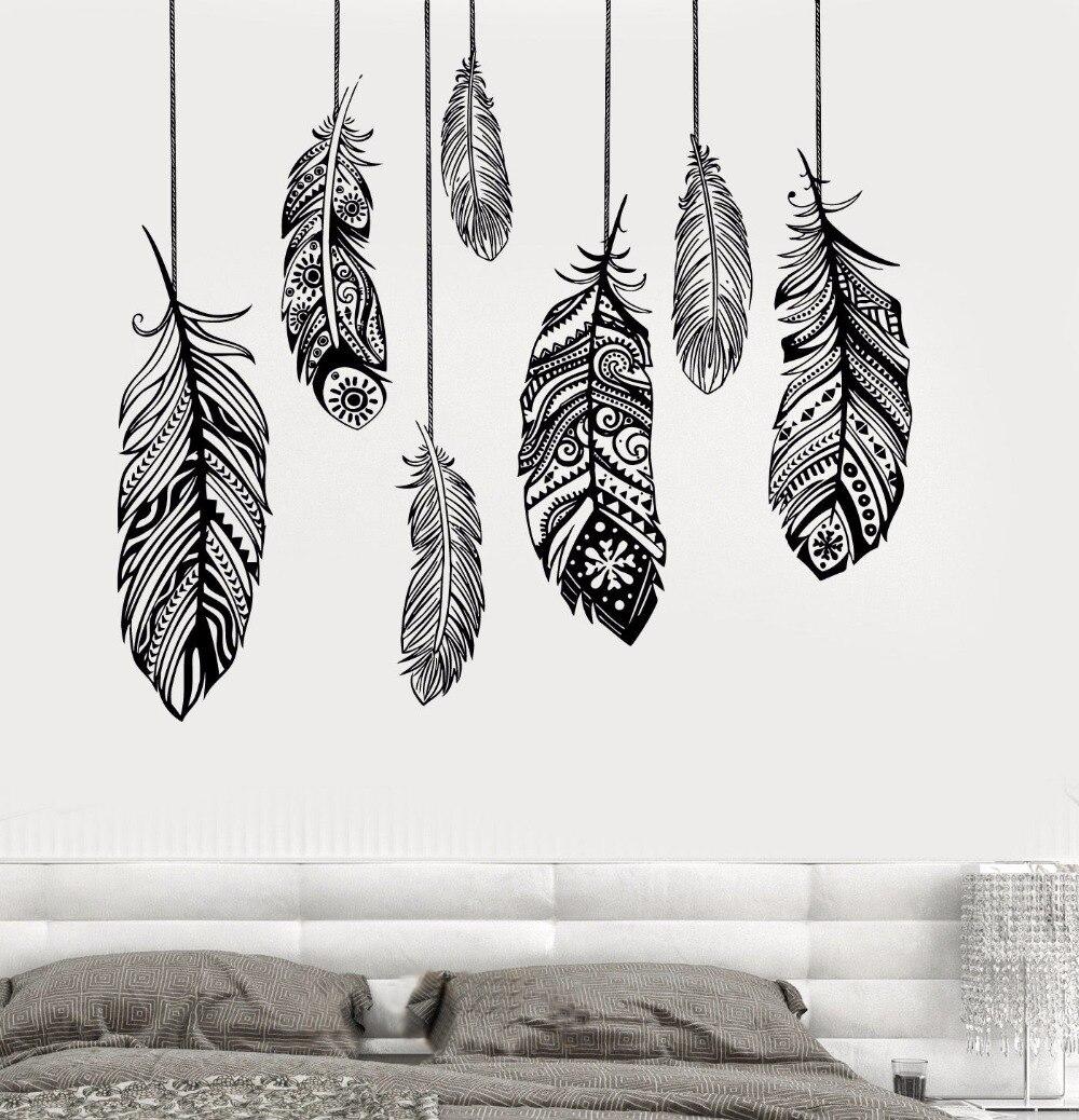 Romantic Bedroom Wall Decor: Ethnic Love Feather Romantic Bedroom Wall Art Decal