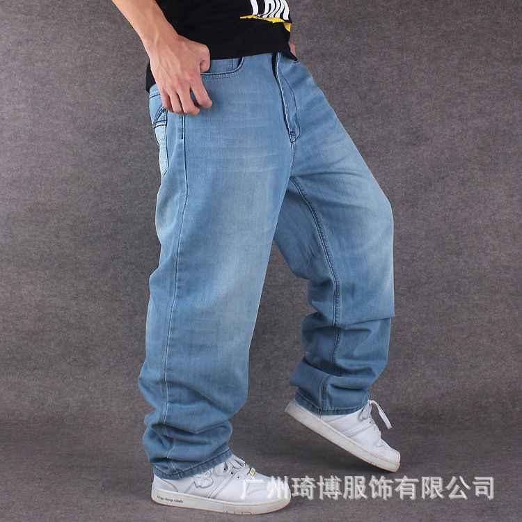 ff2fd371284 ... Men Wide Leg Denim Pants Hip Hop light blue Casual jean trousers Baggy  jeans for Rapper