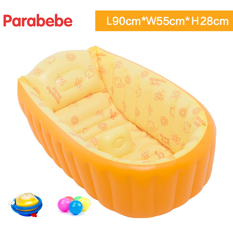 Baby BathTub Kids Bathtub Portable Inflatable Cartoon Safety Thickening Washbowl Baby Bath for Newborns Swimming Pool with balls