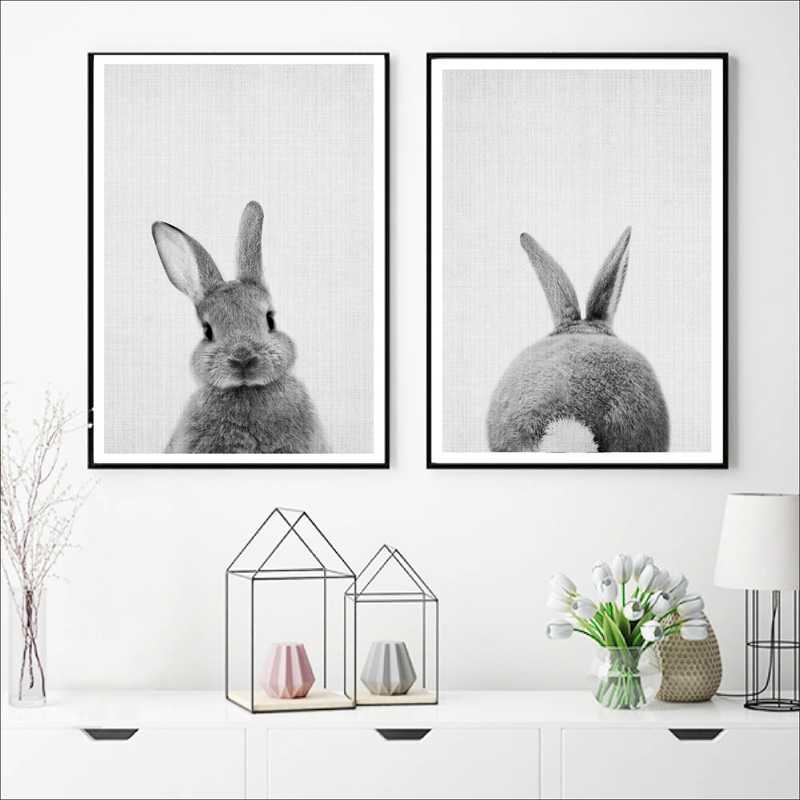 Black and White Baby Animal Rabbit Tail Canvas Art Print and Poster , Nursery Woodlands Bunny Canvas Painting Nordic Wall Decor