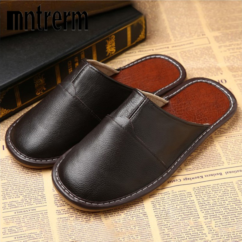 Mntrerm Men Casual Slippers For Home Slippers Four Seasons Cowhide Man Indoor Flats Shoes Genuine Leather Slipper Summer Shoes