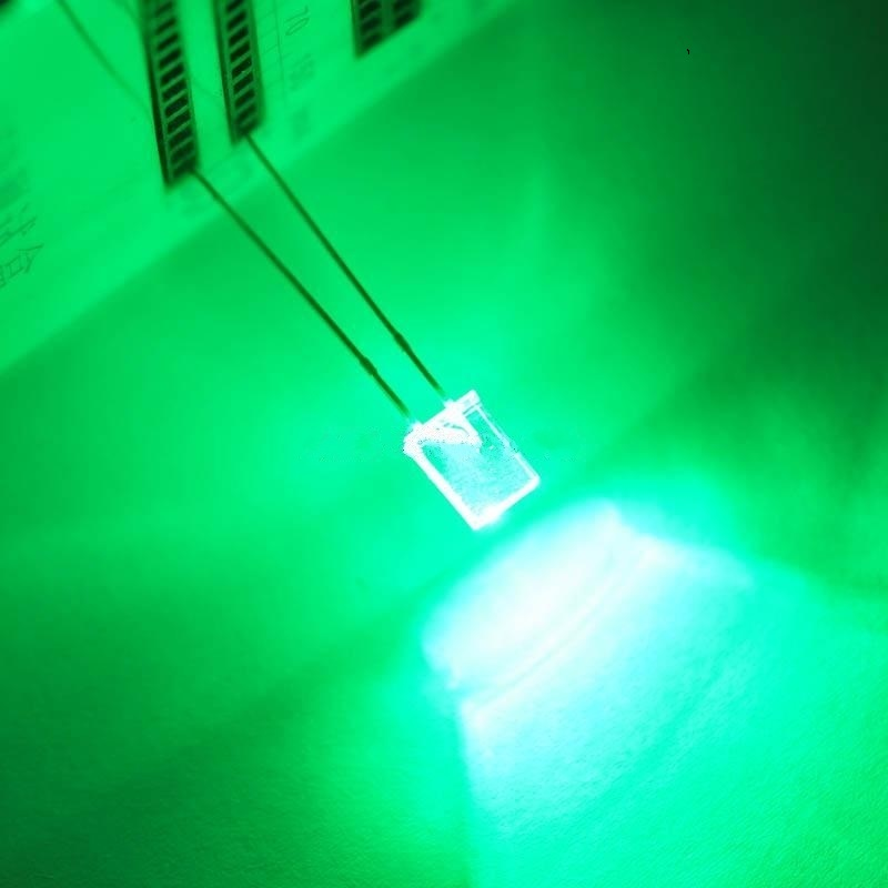 2*5*7 Long Legs Square White Turn Green LED Light Emitting Diodes Highlight 100 PCS/ 1 Lot