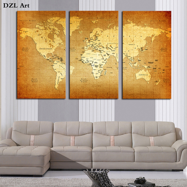 Drop Shipping World Map Wall Art Paintings Picture Paiting Canvas ...